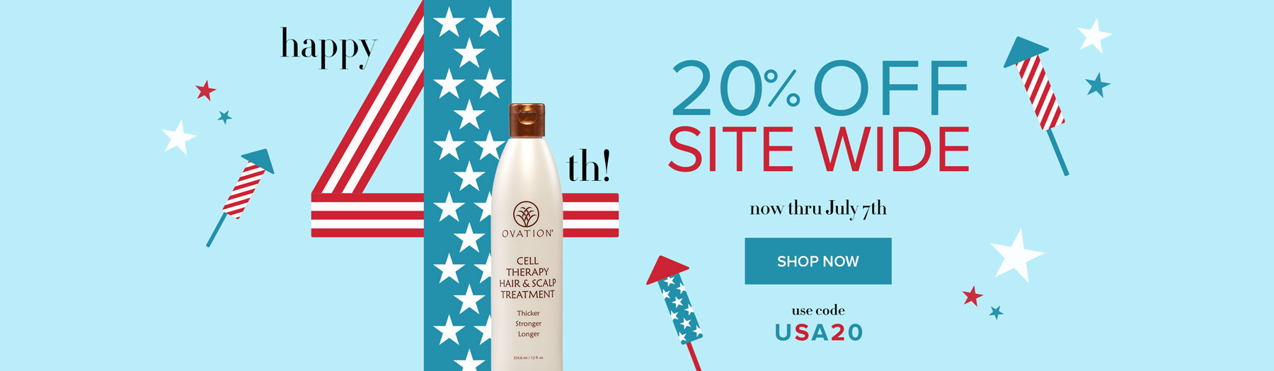Star Spangled Savings on Ovation Hair - Save 20% Site Wide